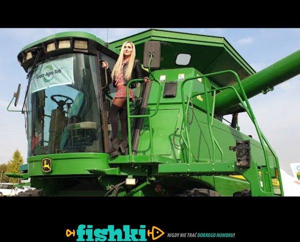 Pretty Girl & Huge John Deere 9760 STS Harvester